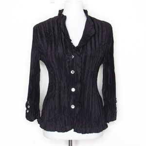 Agora Accordion Pleated Button Up Blouse Top